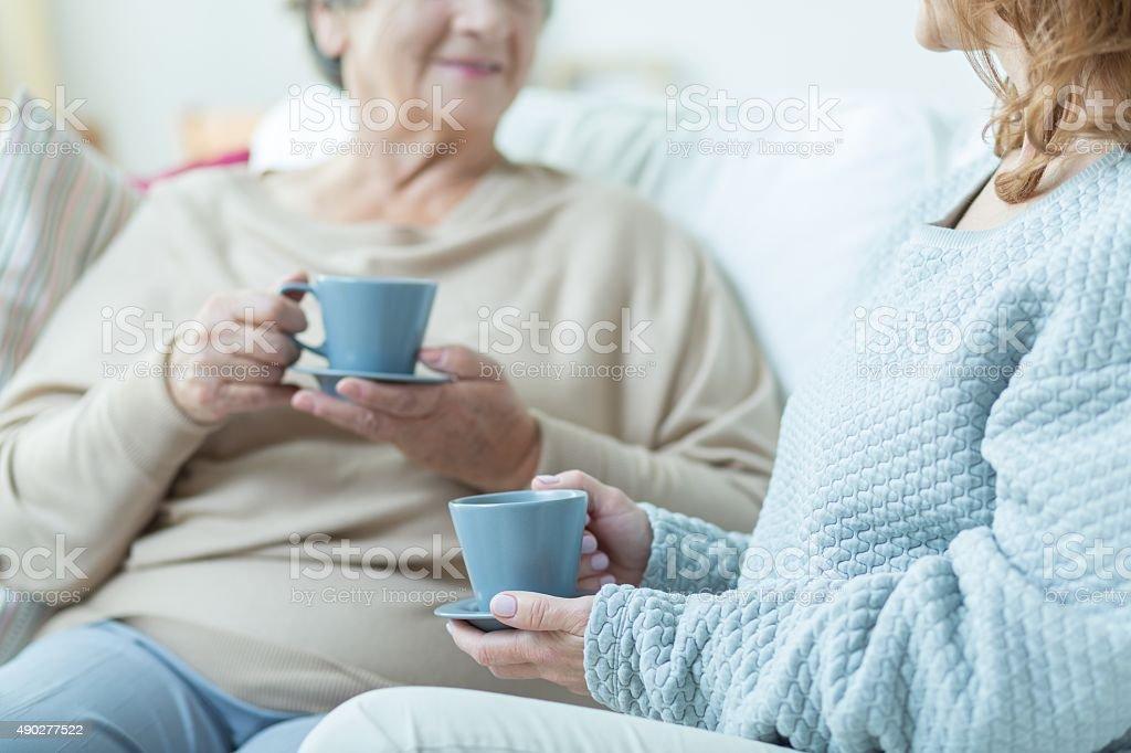 Two elderly women stock photo