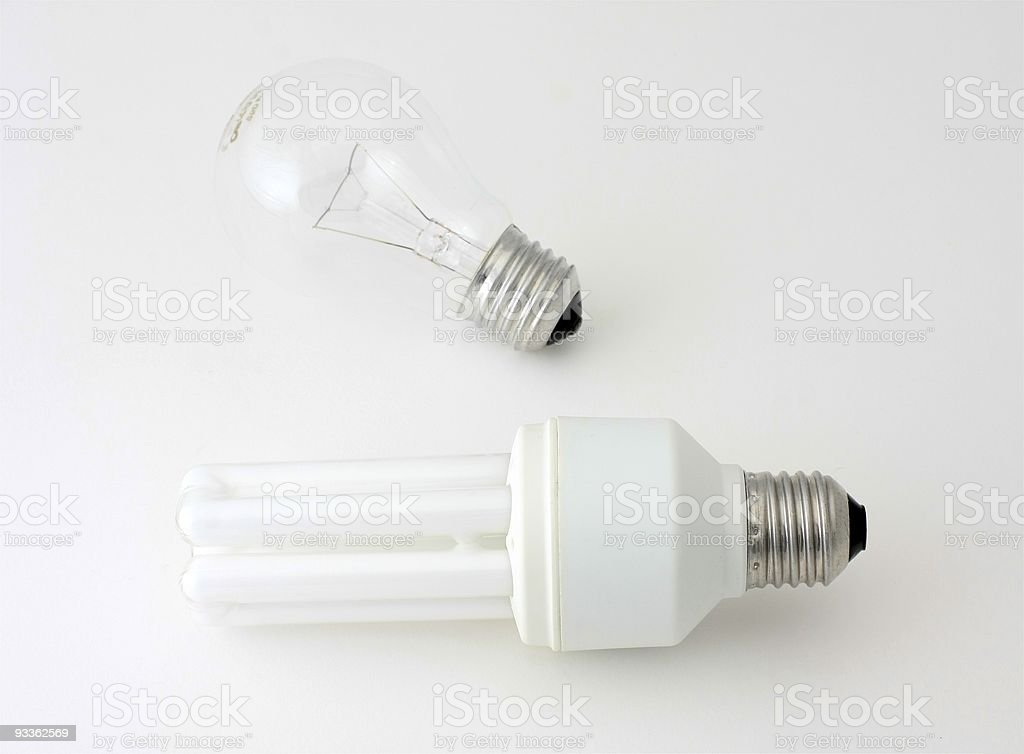 Two electric bulbs stock photo