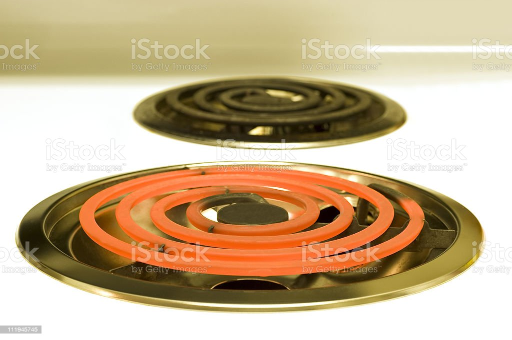 Two Electric Burners Hot and Not royalty-free stock photo