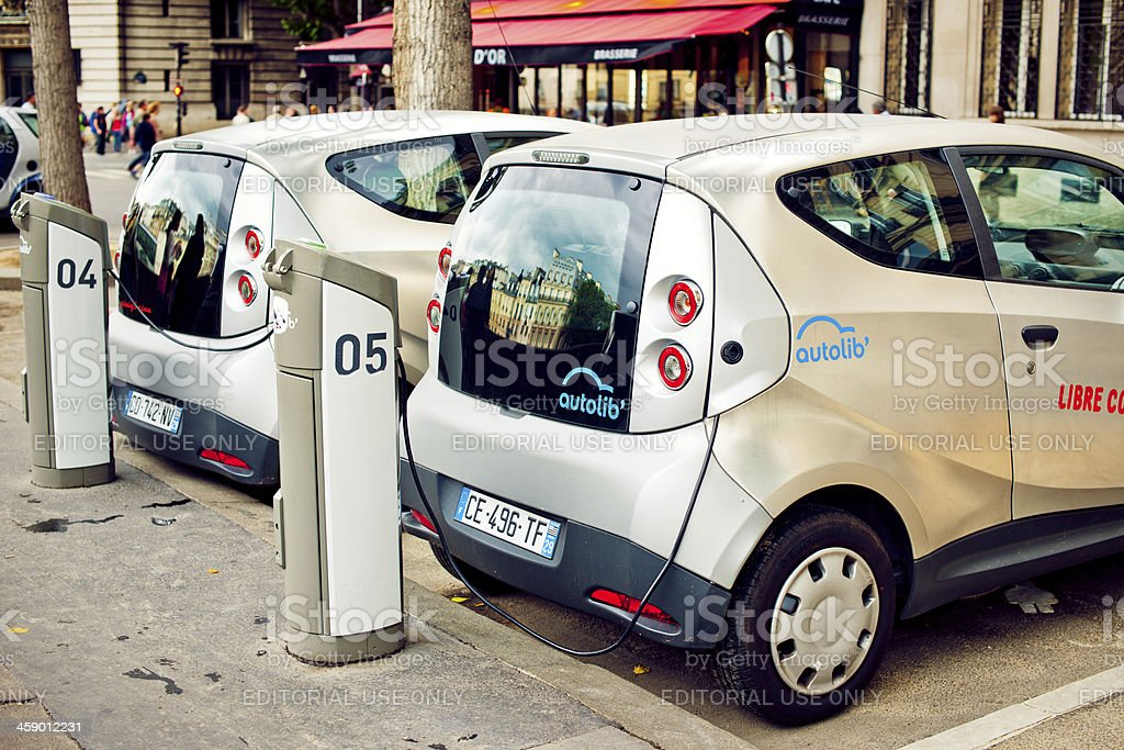 Two electric cars in Paris stock photo