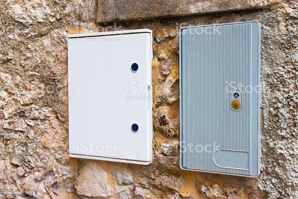 Two electrical plastic junction box stock photo