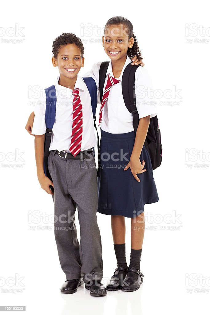 two elementary school students full length isolated royalty-free stock photo