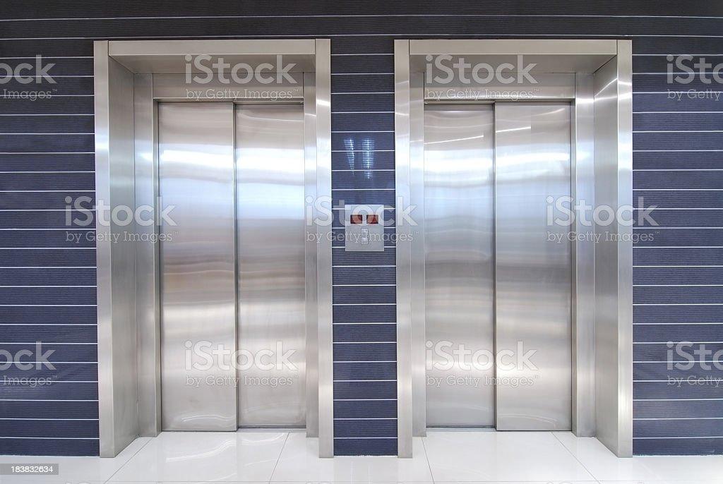 two elevators stock photo