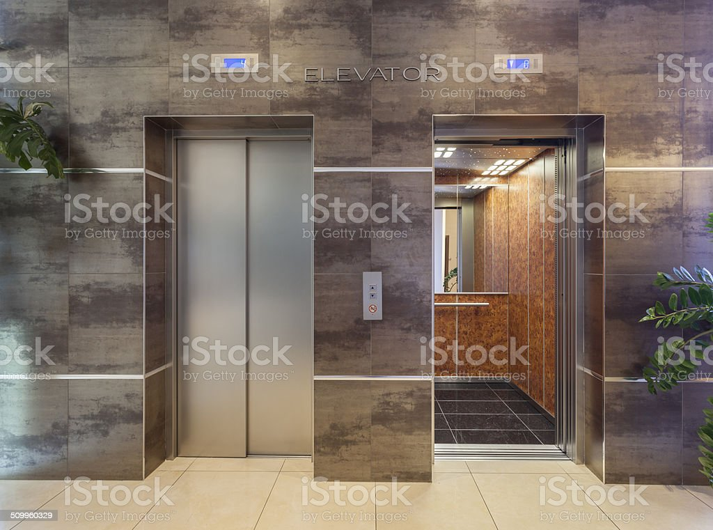 Two elevators shot from outside stock photo