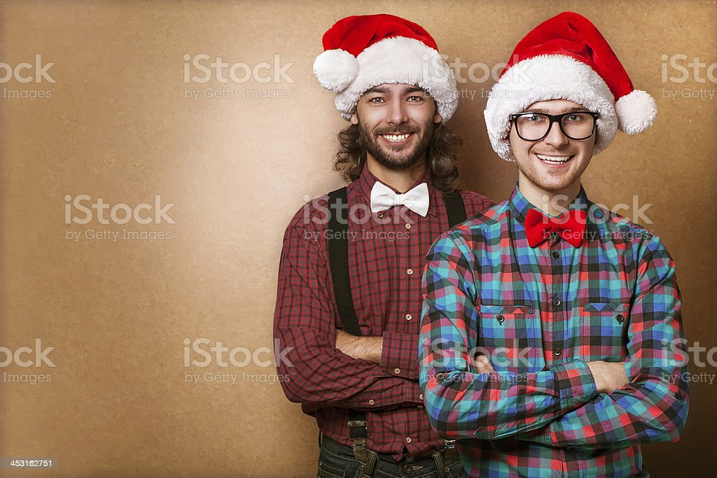 Two emotional Santa Claus  dressed in clothes hipster royalty-free stock photo