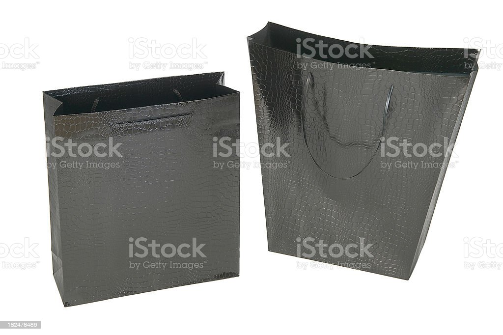 Two Empty Black Paper Shopping Bags Studio Shot stock photo ...