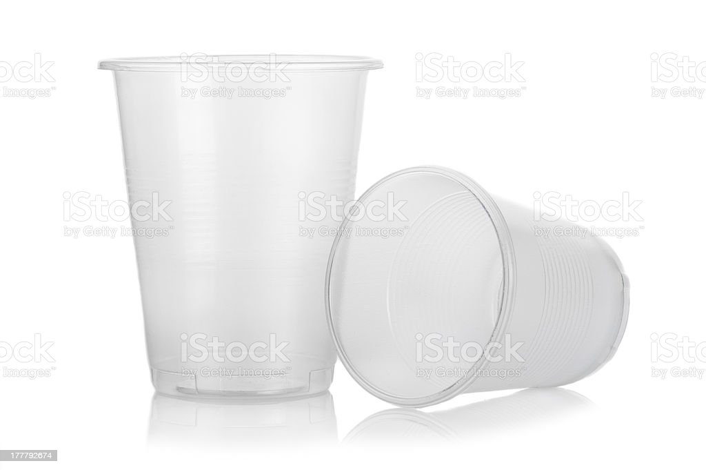 Two empty disposable plastic cups royalty-free stock photo