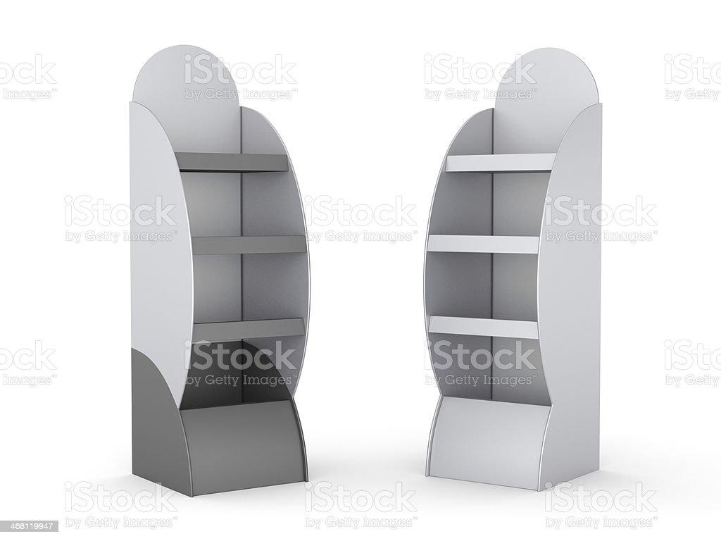Two empty white display shelves on a white background stock photo