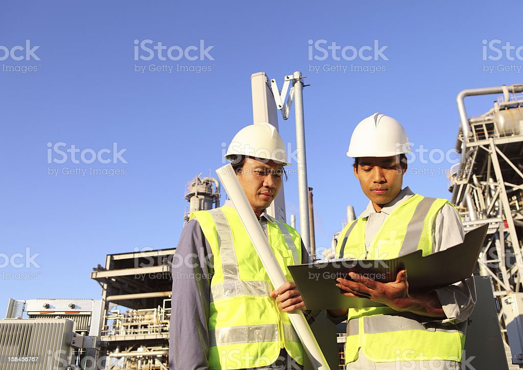 two engineer of oil refinery royalty-free stock photo