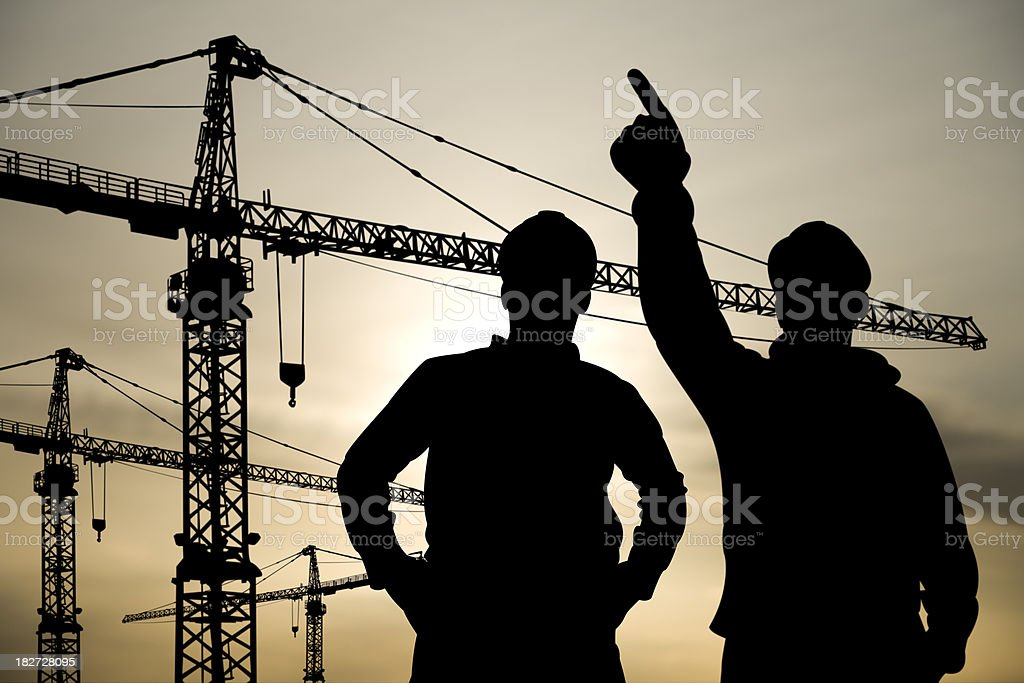 Two Engineers at a Building Site royalty-free stock photo