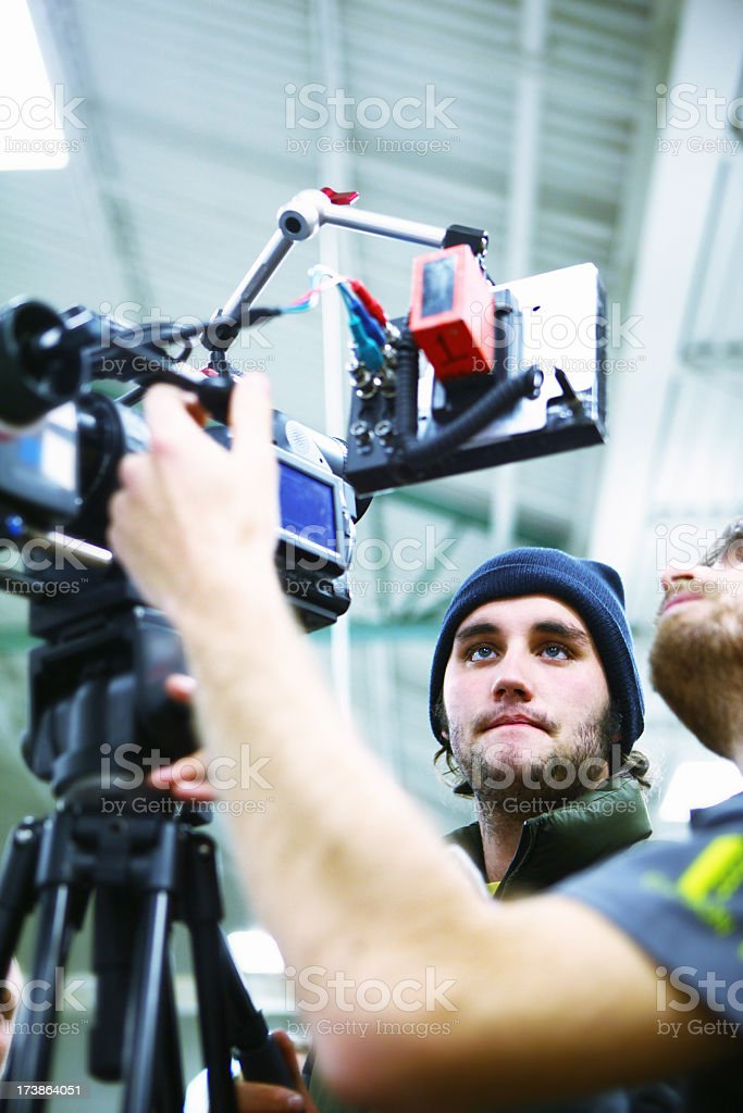 Two engineers filming themselves stock photo