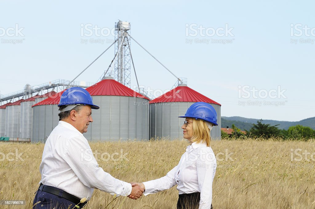 Two Engineers Handshaking in a Wheat Field royalty-free stock photo