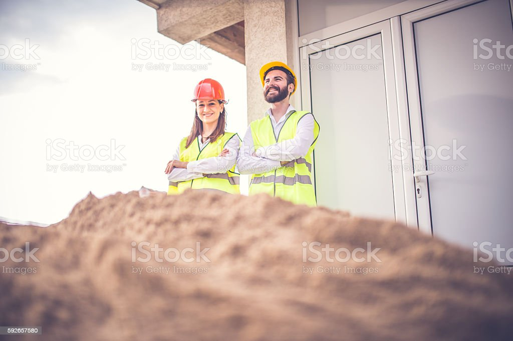 Two Engineers standing stock photo
