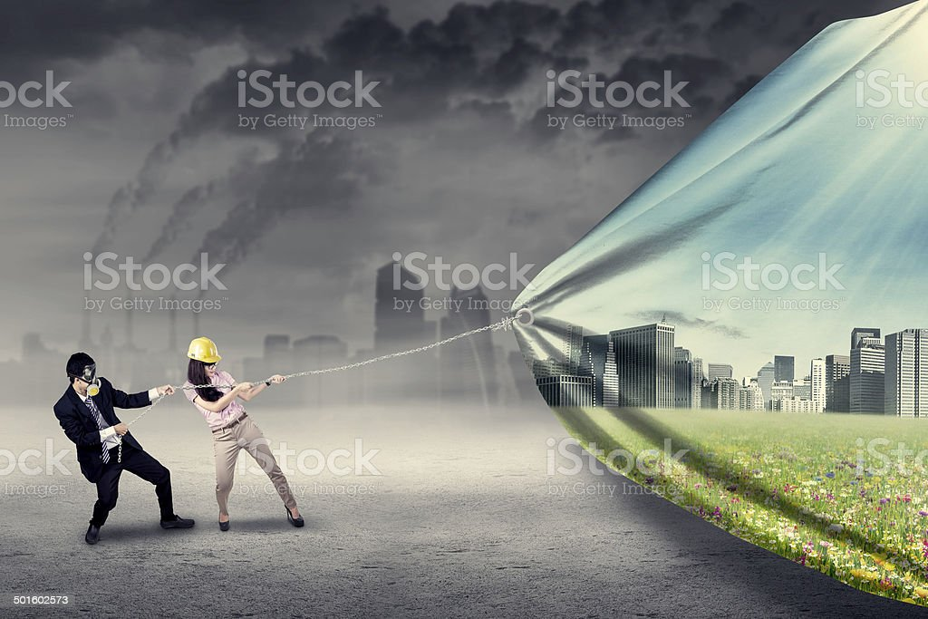 Two engineers try to save environment stock photo