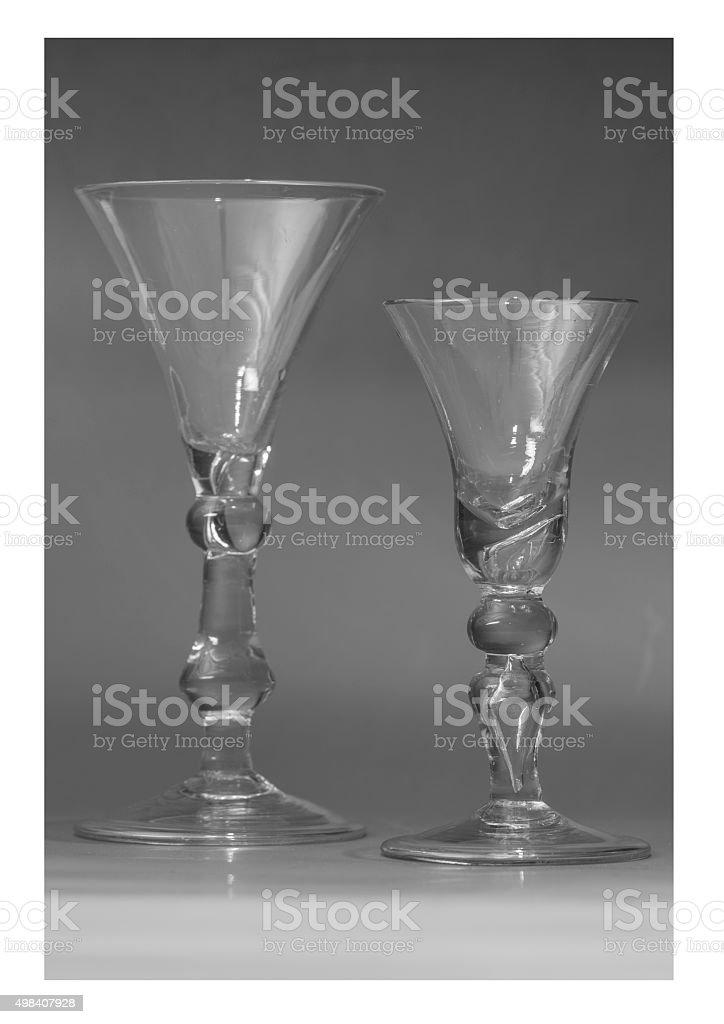 Two English baluster wine glasses circa 1720 stock photo