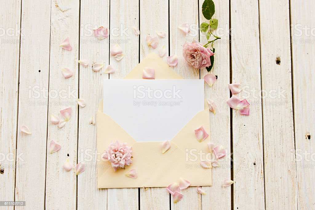 Two envelope with a card inside stock photo