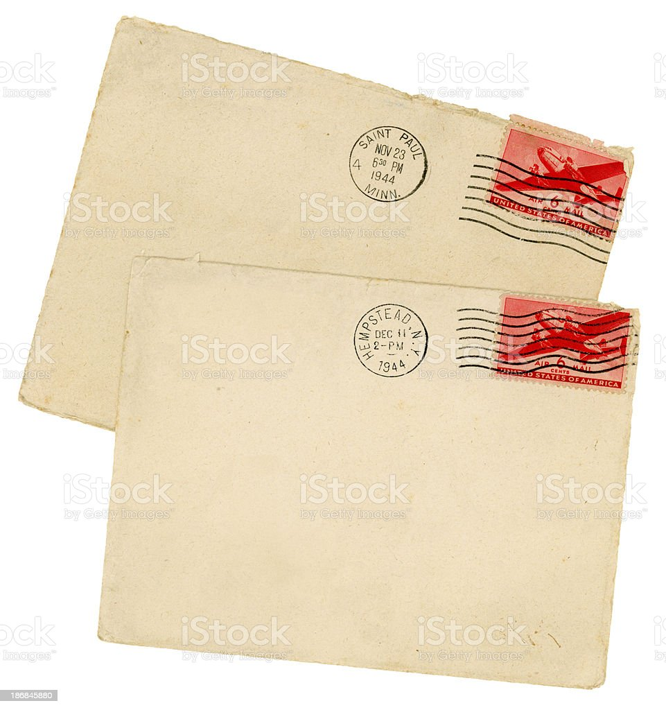 Two American envelopes from 1944 stock photo