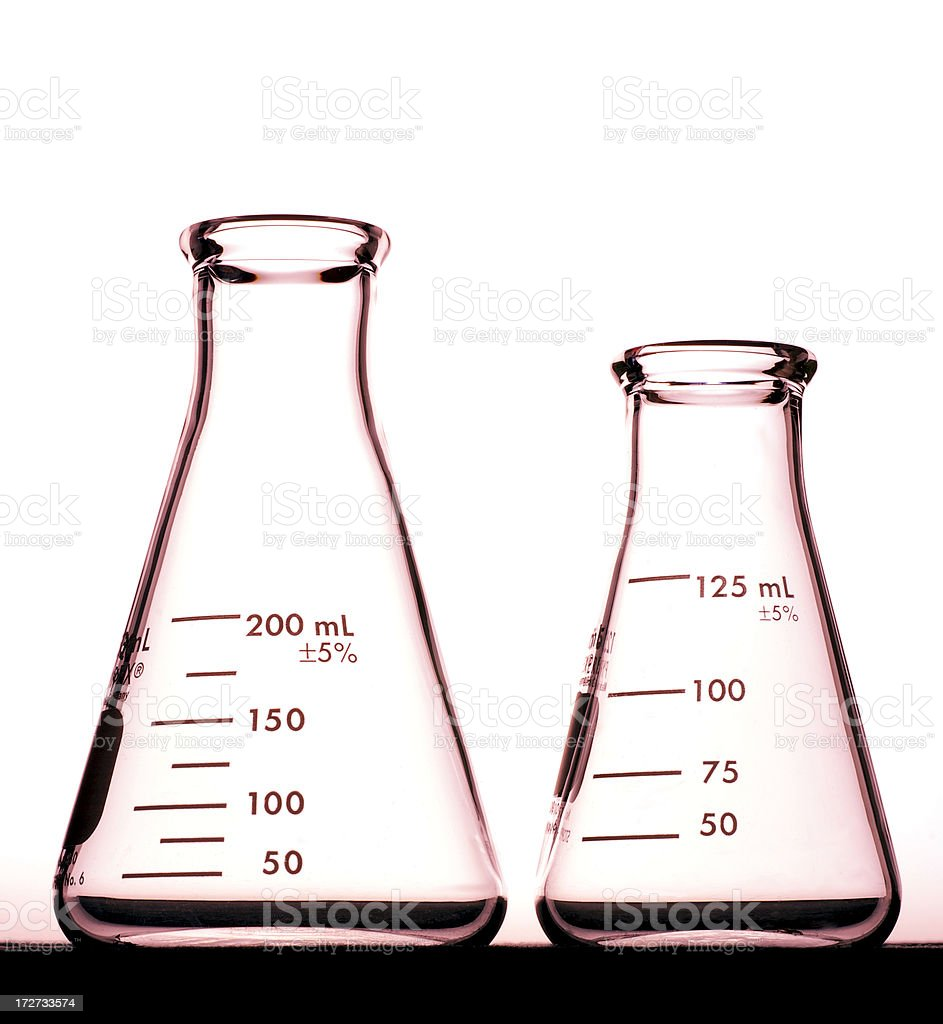 Two Erlenmeyer Flasks with Red Tint stock photo