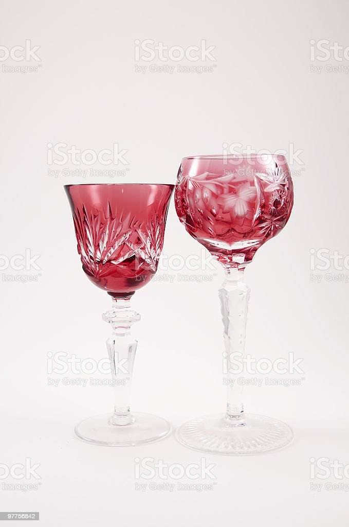 Two Etched Crystal Drinking Glasses XL royalty-free stock photo