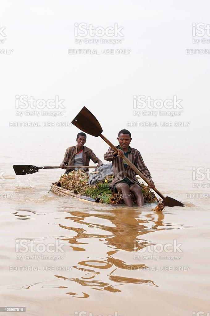 Ethiopians on Lake Tana stock photo