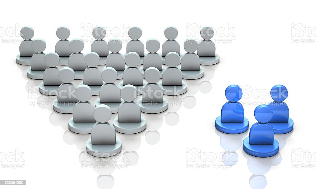 Two ethnic groups. Minority group and large group. stock photo