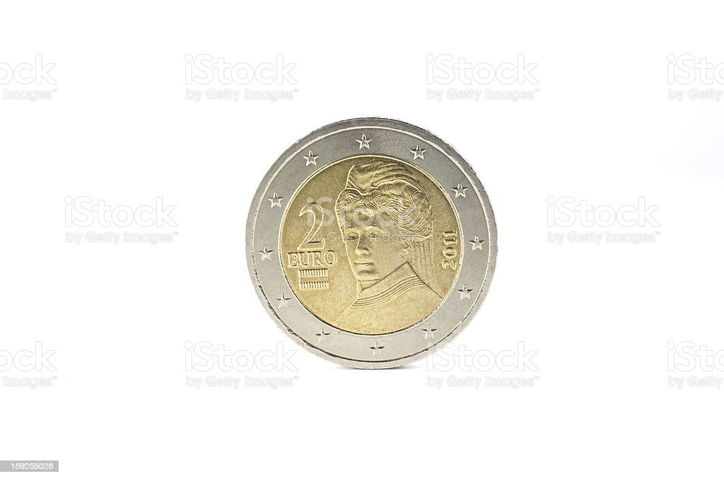 two euro coin of 2011 royalty-free stock photo