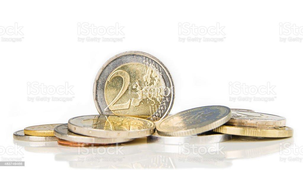 two euro coin on white background stock photo