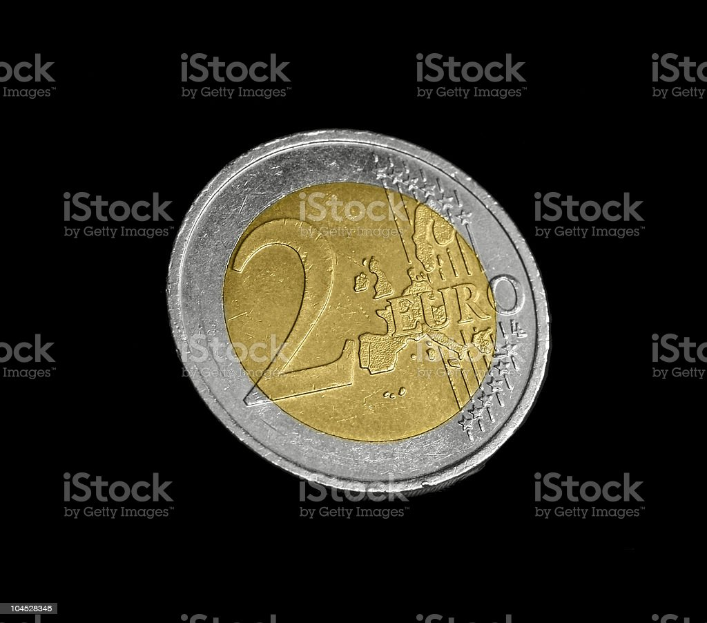 two euro coin stock photo