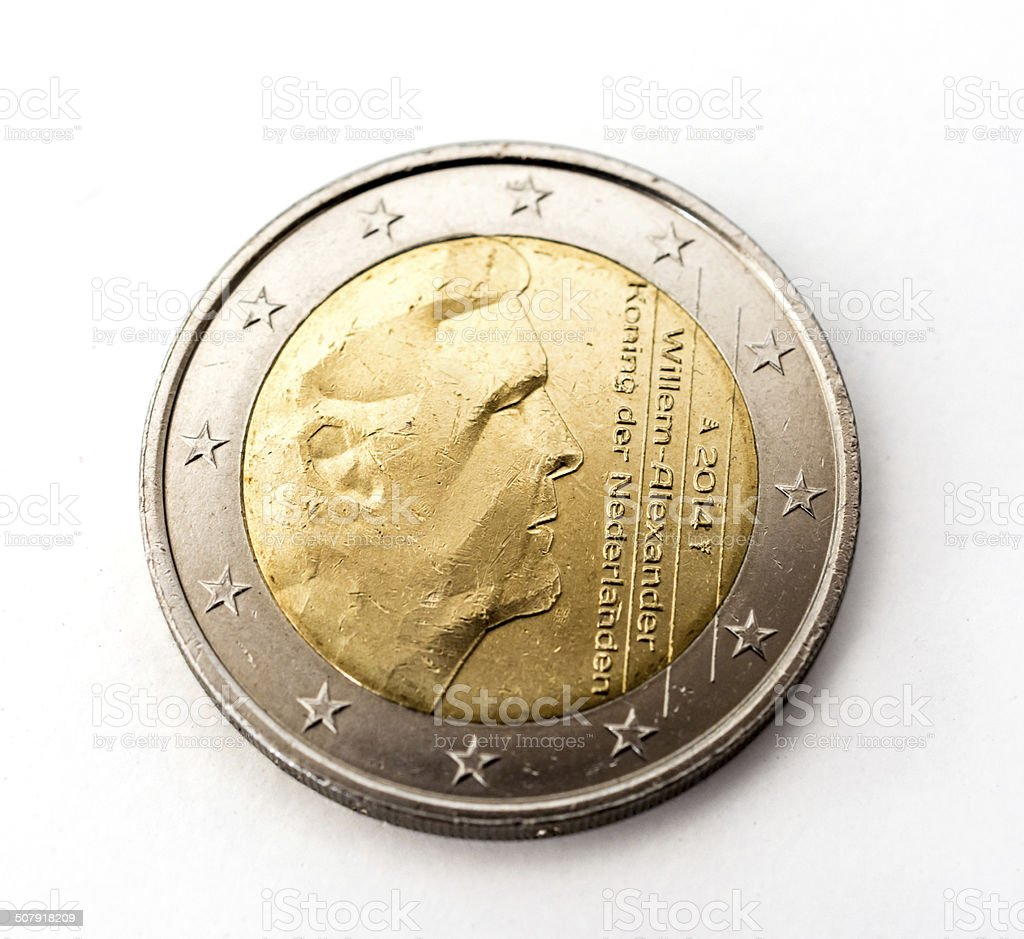 Two Euro coin the Netherlands stock photo