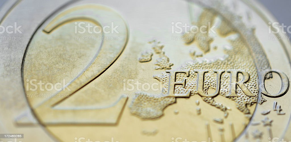 Two euro coin tilted royalty-free stock photo