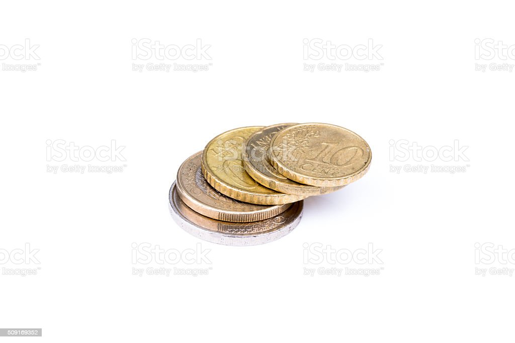 Two euro to 10 euro cents stacked skewed stock photo