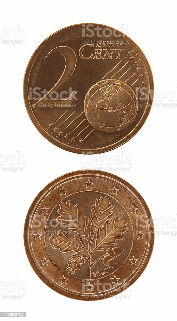 Two Eurocents Coin stock photo