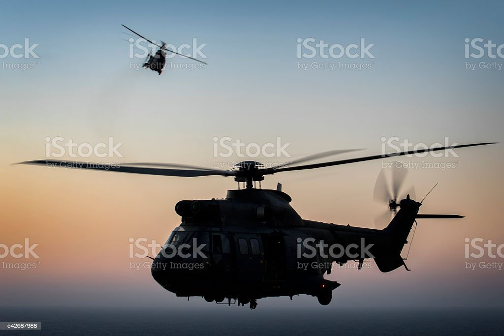Two Eurocopter/Airbus Helicopters AS332 Super Pumas stock photo