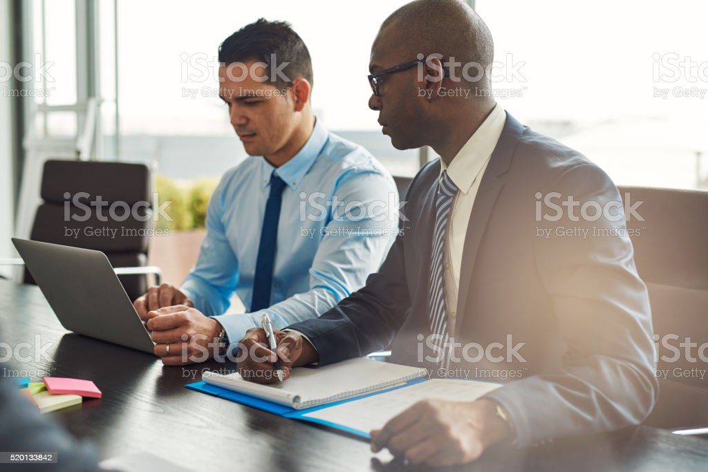 Two experienced business executives in a meeting stock photo