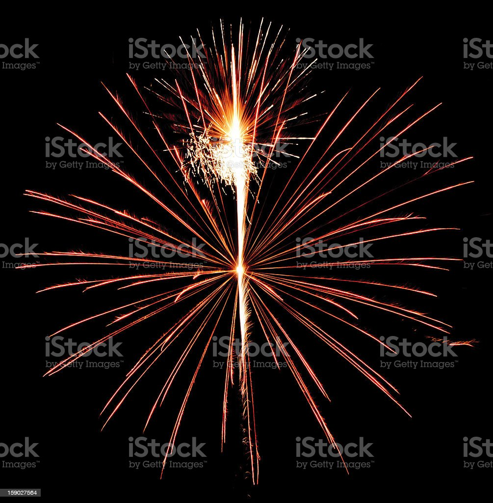 Two explosive neighbors in night sky royalty-free stock photo