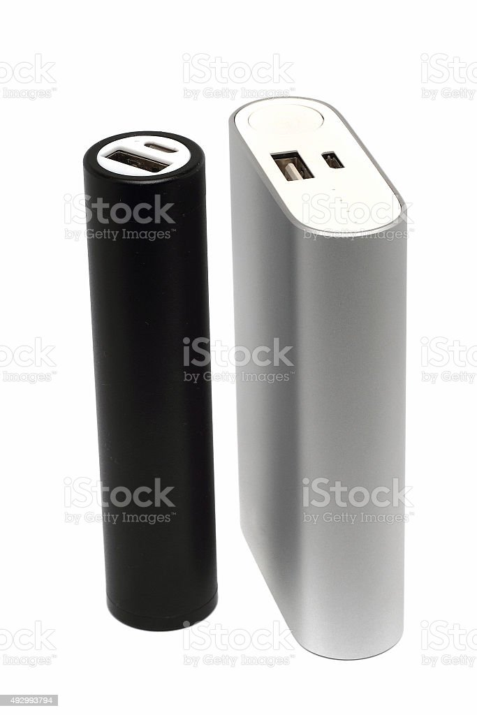 two external battery in aluminum case stock photo