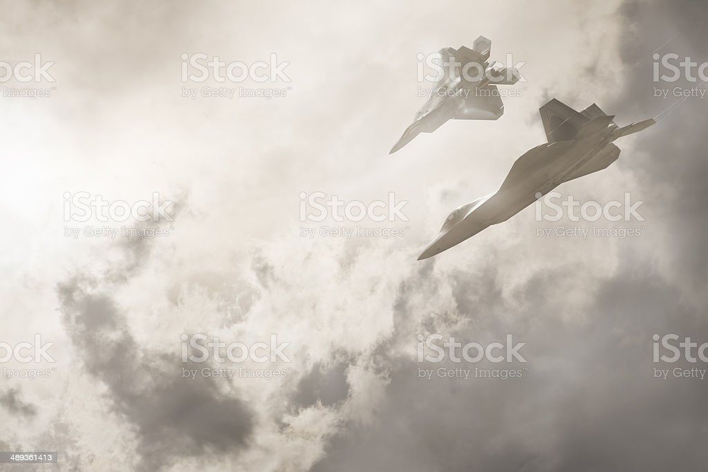 Two F22 Fighter Jets stock photo