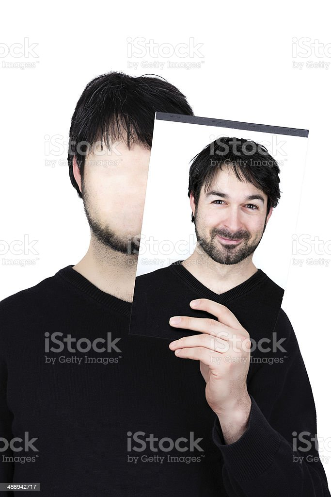 two faces happy stock photo
