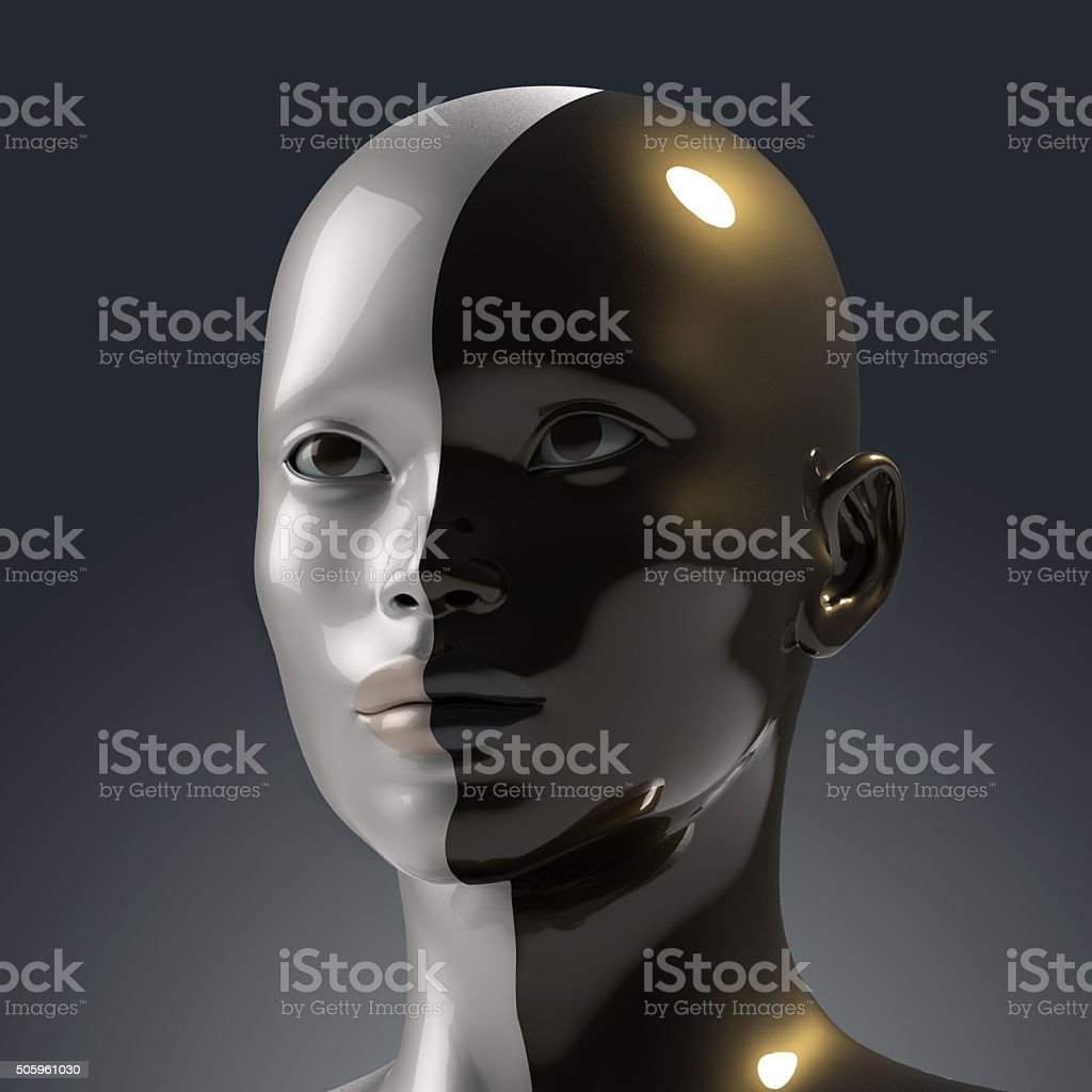 two faces in one stock photo
