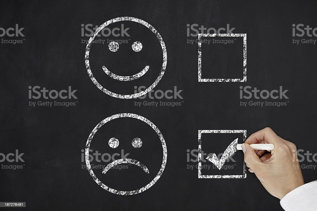 Two faces on a black board with the sad face being checked stock photo