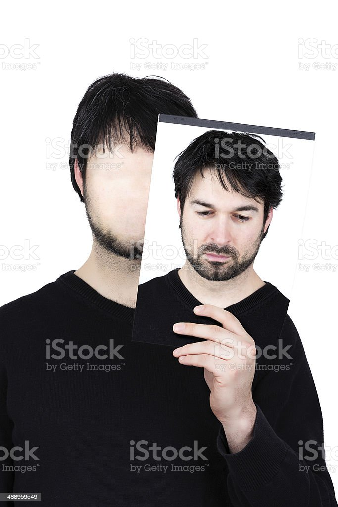 two faces  thoughtful royalty-free stock photo