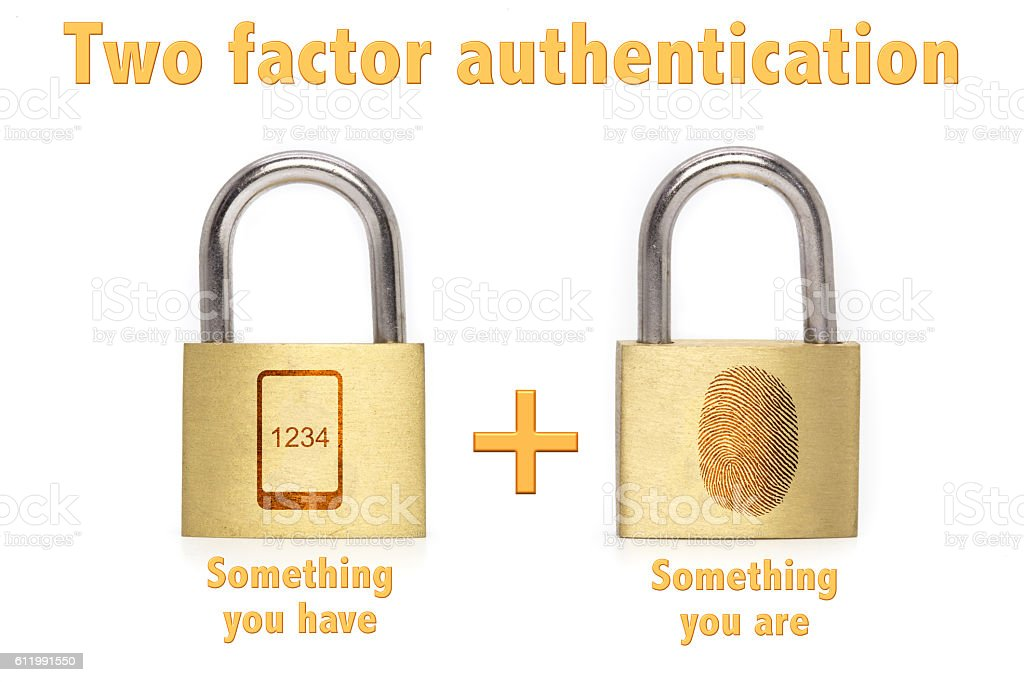Two factor authentication padlocks concept are and have stock photo