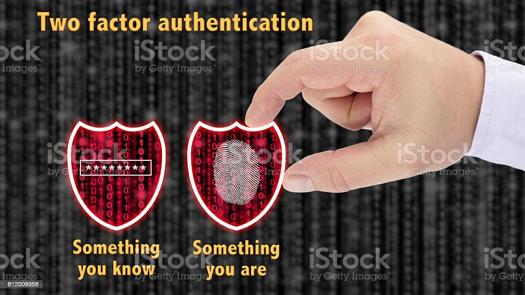 Two factor authentication shields concept are and know stock photo