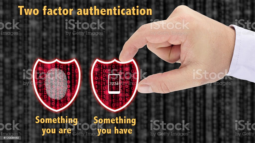 Two factor authentication shields concept have and are stock photo
