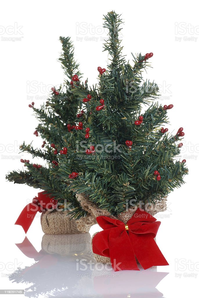 two fake mini christmas trees royalty-free stock photo