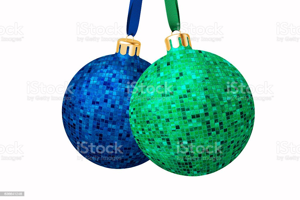 Two Fancy Christmas Baubles stock photo