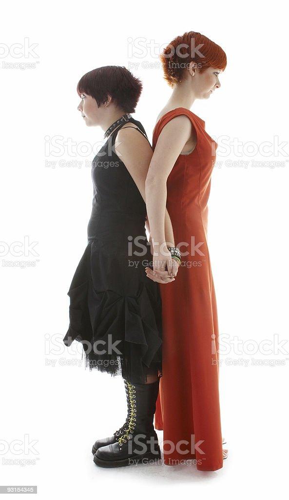 Two fantasy girls isolated on white royalty-free stock photo