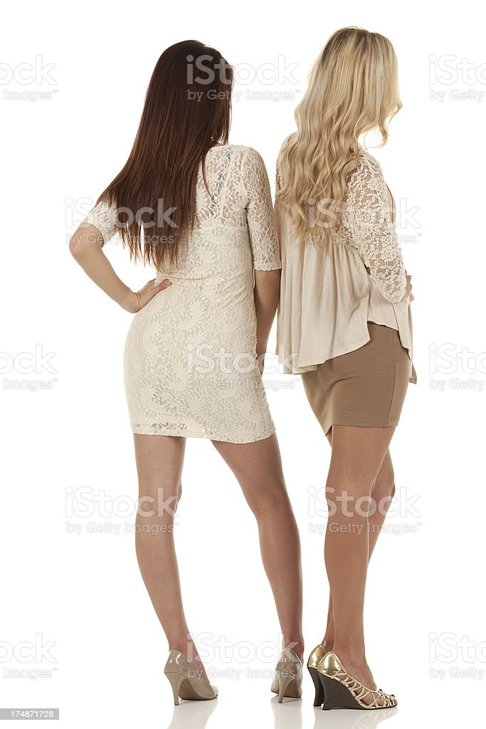 Two fashion models standing royalty-free stock photo