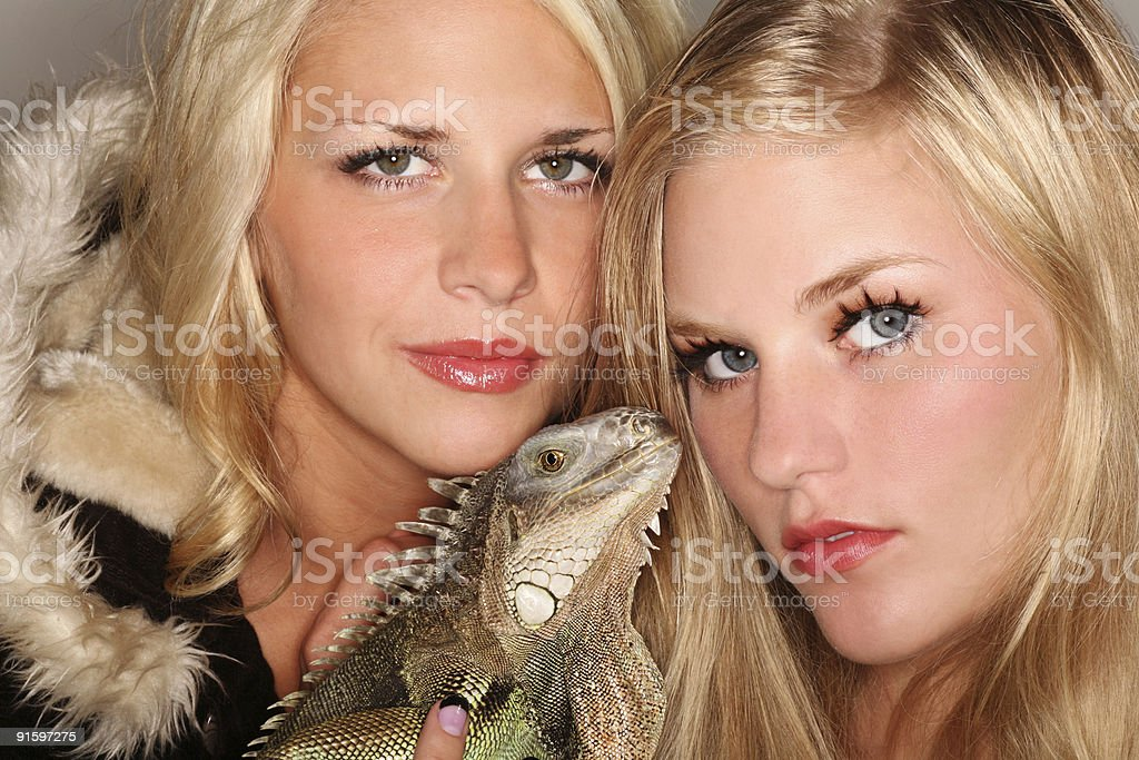 Two Fashion Modles and One Pet Iguana royalty-free stock photo