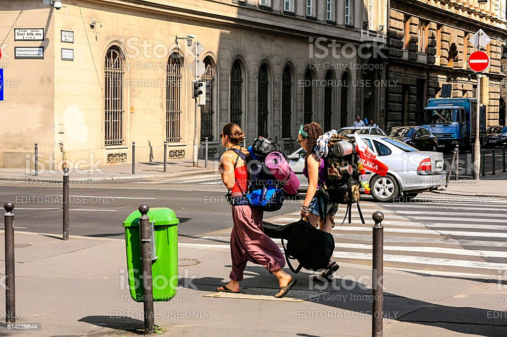 Two female backpackers with their camping gear in Budapest, Hungary stock photo